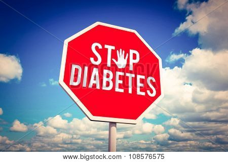 Stop diabetes against scenic view of blue sky