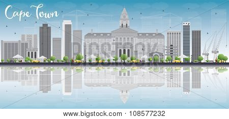 Cape town skyline with grey buildings, blue sky and reflection. Vector illustration. Business travel and tourism concept with place for text. Image for presentation, banner, placard and web site.