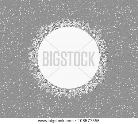 Winter Background With Snowflakes And Space In Circle For Text