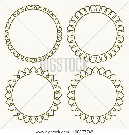 Set Of 4 Thin Very Simple Stylish Round Decorative Frames In Mono Line Style With Rounded Corners