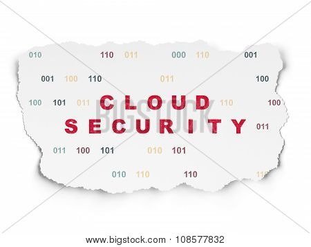 Cloud technology concept: Cloud Security on Torn Paper background