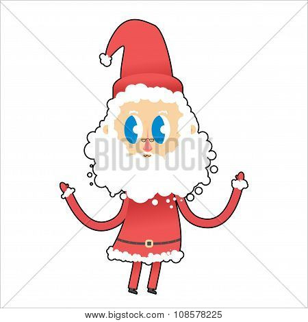 Cute Santa Claus with big eyes. Young Santa raised his hands up.