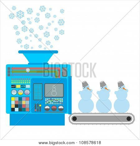 Factory Snowmen. Apparatus For Producing Snow Figures. Is  Snow Into  Machine. Funny Christmas Machi