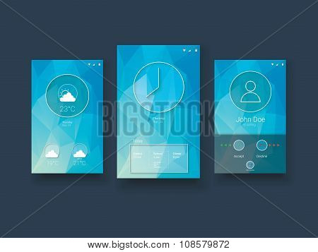 Modern mobile user interface template with smartphone screens on blue low poly vector background.