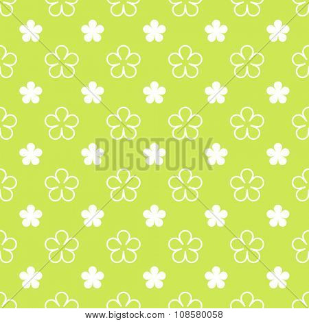 Flower on green seamless pattern background