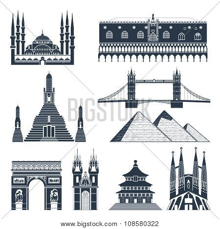 Landmarks And Monuments Black Set