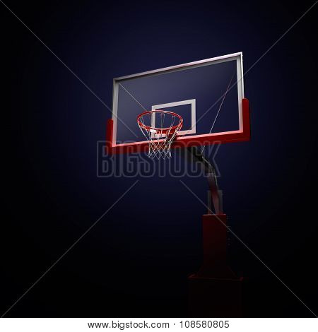 Red basketball houp in blue