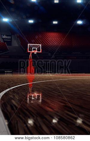 Basketball court. Sport arena. 3d render background.
