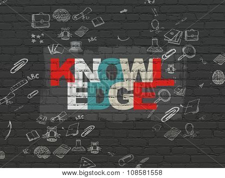 Learning concept: Knowledge on wall background