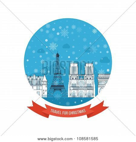 Travel to France for christmas. Greeting card design. City winter.