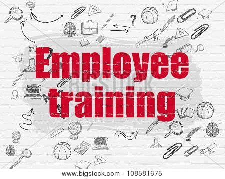 Studying concept: Employee Training on wall background