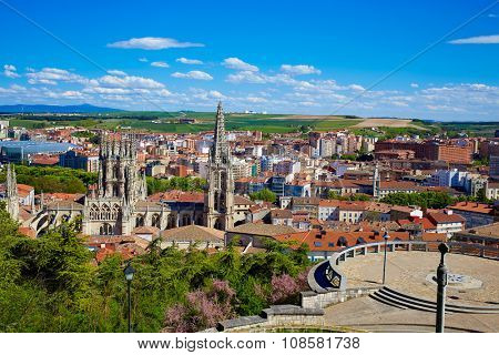 Burgos aerial view skyline with Cathedral in Castilla Leon of Spain