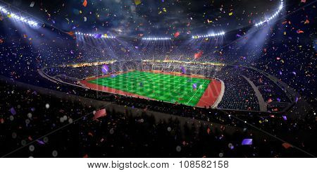 Night stadium arena soccer field championship win. blue toning