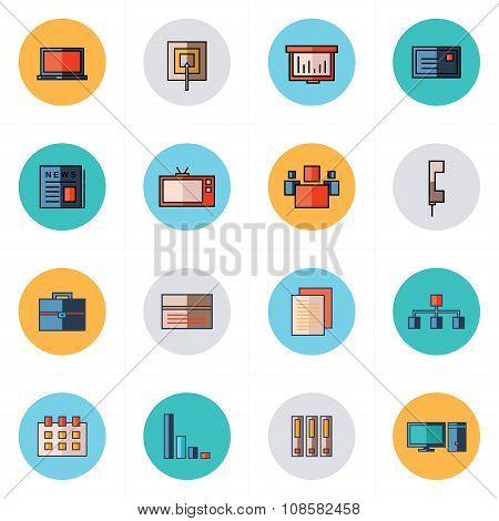 Office Icons Set Flat Design