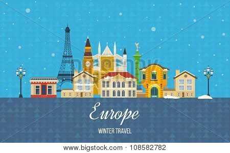 Travel to Europe for winter. Merry Christmas greeting card design.