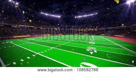 Night stadium arena Football field championship win.blue toning