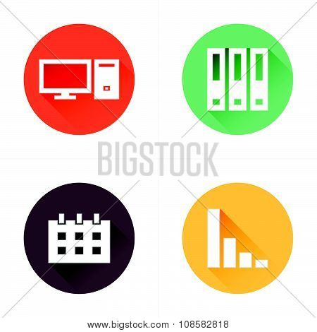 Computer, File, Calendar, Graph Icons Flat Style