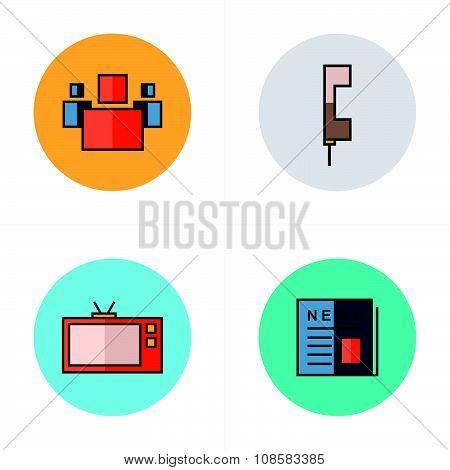 People, News, Tv, Phone Icons Flat Design