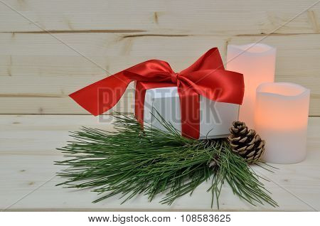 Christmas Present With Red Silky Ribbon