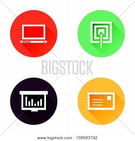 Laptop, Target, Graph, Mail Icons Design Flat