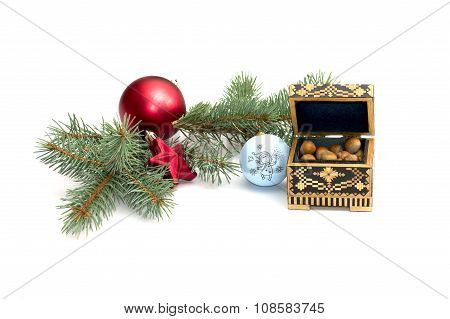 The Fir-tree Branch Decorated With Spheres And Casket With Forest Nutlets