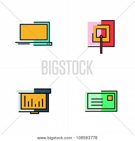Laptop, Target, Graph, Mail Icons Design
