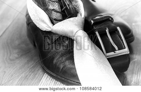 Black Leather Boot Strap And Tie