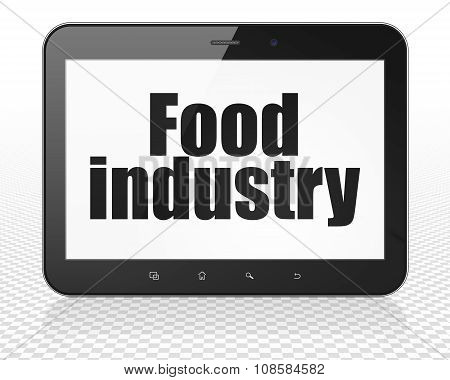 Manufacuring concept: Tablet Pc Computer with Food Industry on display