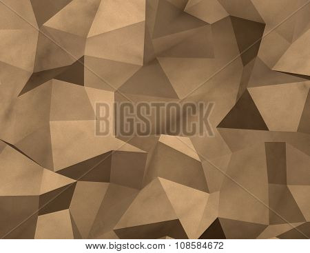 Triangulated Geometric 3D Gold Background.