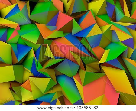 Abstract Triangulated 3D Colorful Background.
