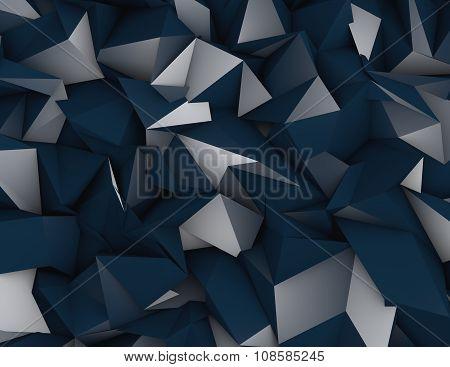 Triangulated 3D Dark Blue Background.