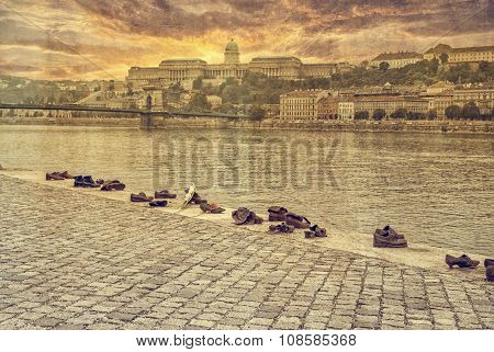 Budapest, Hungary - October 12: Iron Shoes Memorial To Jewish People Executed Ww2 In Budapest Hungar