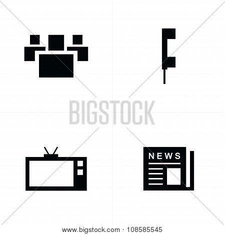 People, News, Tv, Phone Icons