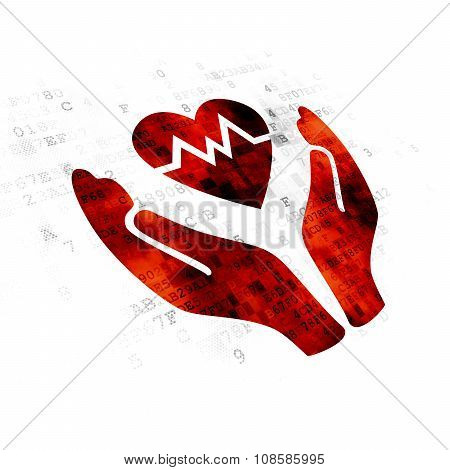 Insurance concept: Heart And Palm on Digital background