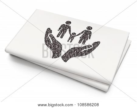 Insurance concept: Family And Palm on Blank Newspaper background