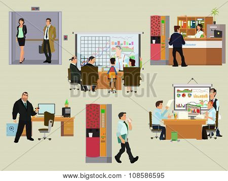 Vector business people in flat style.