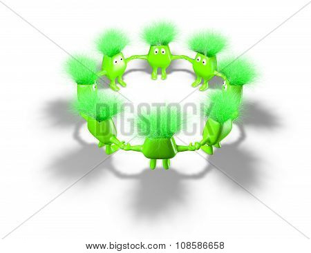 Team of green funny creatures.