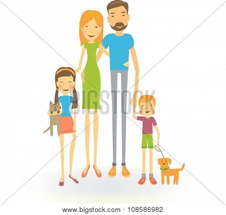 Family of four cartoon illustration