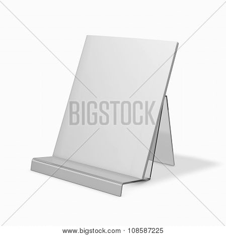 Brochure Standing On Advertising Holder. Presentation Template With Copy Space.