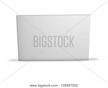 Long Horizontal Booklet With Blank Cover Standing On Floor With Shadow.