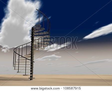 Stairs To Heaven Abstract Illustration With Sky And Clouds.