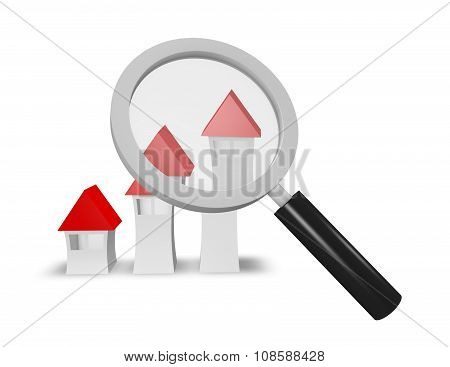 Searching For House Idea With Simple Houses And Magnifier.