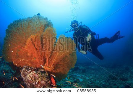 Young Woman Scuba Diver exploring underwater ocean