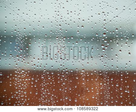 Rain drops on window.