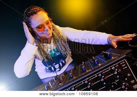Dj Woman Playing Music By Mikser