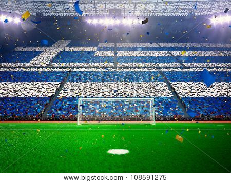 Flag Greece of fans. Evening stadium arena Blue