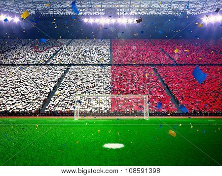 Flag Malta of fans. Evening stadium arena Blue