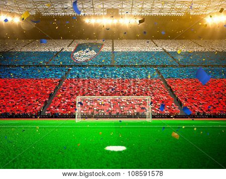 Flag Slovenia of fans. Evening stadium arena Yellow
