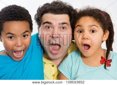 Surprised Dad And Kids With Mouth Wide Open