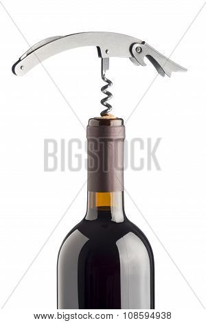 Corkscrew On Wine Bottle